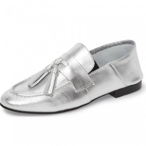 Silver Loafers for Women Round Toe Flats with Tassel