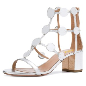 Silver Metallic Block Heel Gladiator Heels Sandals