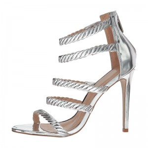 Silver Metallic Heels Gladiator Heels Sandals