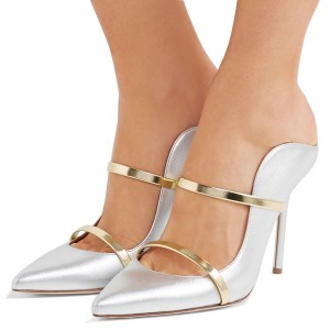 Silver Metallic Heels Pointy Toe Stiletto Heel Mules for Office Ladies