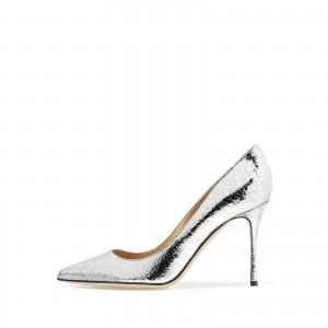 Silver Metallic Heels Pointy Toe Stiletto Heel Pumps
