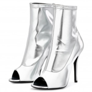 Silver Metallic Peep Toe Booties Stiletto Heels Ankle Boots