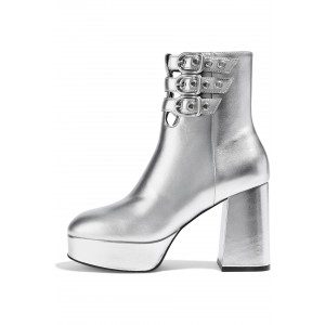 Silver Buckle Boots Metallic Round Toe Chunky Heel Platform Boots