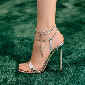 Silver Rhinestone Slingback Heels Sandals Stiletto Heels Prom Shoes