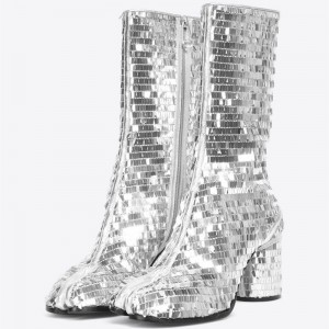 Silver Mirror Chunky Heel Boots  Portable Zipper Mid Calf Boots