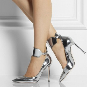 Silver Mirror Leather Pointy Toe Ankle Strap Heels Pumps