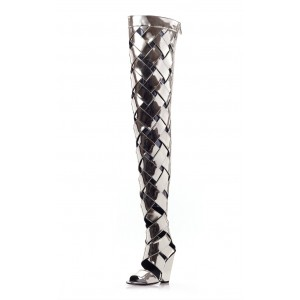 Silver Mirror Thigh High Heel Boots Open Toe Chunky Heels Summer Boots