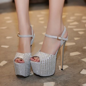 Women's Silver Glitter Peep Toe Super Stiletto Heel Sandals Stripper Heels