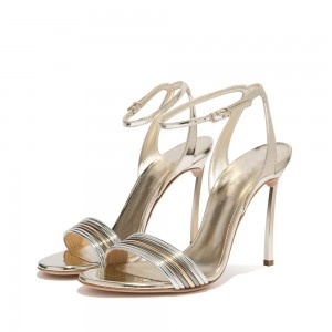 Silver Patent Leather Stiletto Heel Ankle Strap Sandals