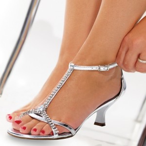 Silver Patent Leather T Strap Sandals Low Heels Rhinestone Sandals