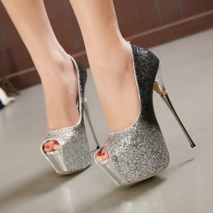 Silver Sparkly Heels Glitter Shoes Peep Toe Hees Platform Pumps