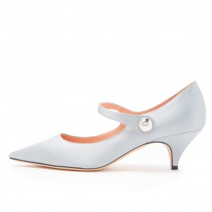 Silver Pointy Toe Agraffe Kitten Heel Mary Jane Pumps