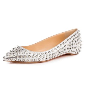 Silver Pointy Toe Flats Python Comfortable Shoes with Rivets