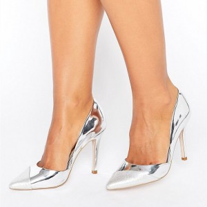 Silver Pointy Toe Metallic and Glitter Stiletto Heels Pumps