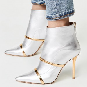 Silver Pointy Toe Stiletto Boots Fashion Ankle Booties with Gold Strap