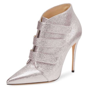 Silver Pointy Toe Stiletto Heel Ankle Booties