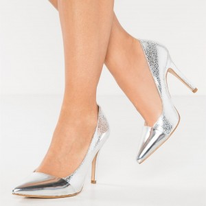 Silver Pointy Toe Stiletto Heels Office Shoes for Women