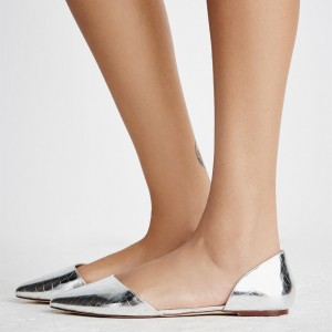 Silver Python Comfortable Flats Shining Pointed Toe Heels