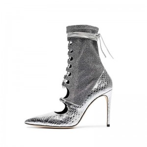 Silver Python Lace up Stiletto Heels Boots Pointy Toe Ankle Booties