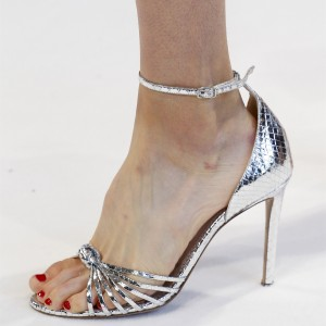 Silver Python Stiletto Heel Ankle Strap Sandals