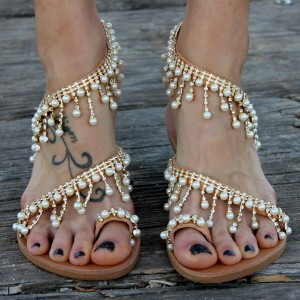 Silver Rhinestone Flats Bohemia Beaded Summer Beach Sandals