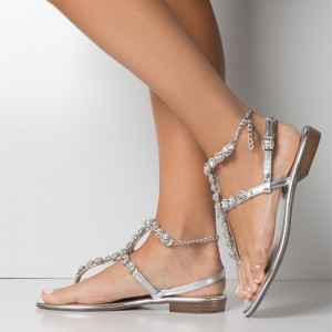 Silver Rhinestone Gladiator Sandals Comfortable Beach Sandals
