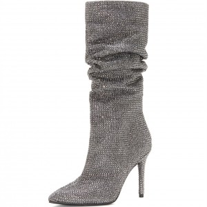 Silver Slouch Boots Pointed toe Strass Hotfix Stiletto Booties