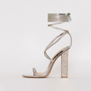 Silver Rhinestone Strappy Sandals Chunky Heel Open Toe Sandals