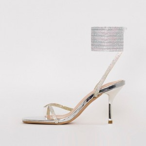 Silver Rhinestone Strappy Sandals Stiletto Heel Open Toe Sandals