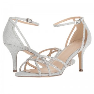 Silver Bridal Sandals Rhinestone Ankle Strap Heeled Sandals
