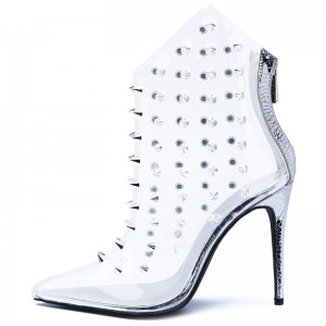 Silver Rivets Clear Shoes Pointed Toe Stiletto Heel Ankle Boots