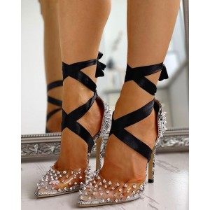 Silver Rivets Strappy Clear Heels Pointed Toe Stiletto Heel Pumps