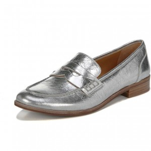 Silver Slip-on Flat Dressy Penny Loafers Casual Shoes for Women