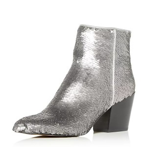 Silver Sequined Block heel Ankle Booties