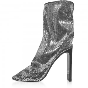 Silver Sequined Chunky Heel Fashion Boots