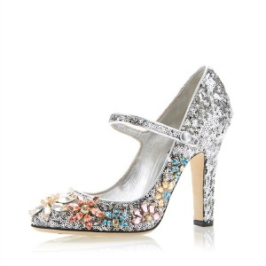 Silver Sequined Round Toe Chunky Heels Rhinestone Mary Jane Pumps