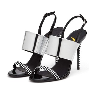 Silver Slingback Heels Open Toe Stiletto Heels Black and White Plaid Sandals
