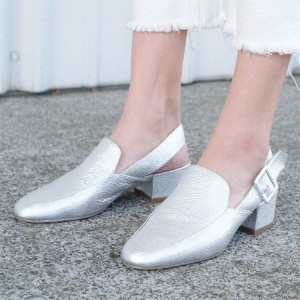 Silver Slingback Loafer Round Toe Block Heels Comfortable Shoes