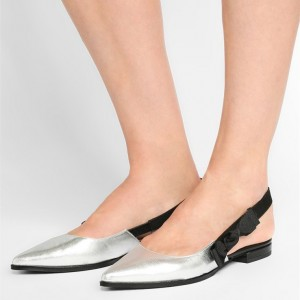 Silver Slingback Shoes Pointy Toe Comfortable Flats with Bow