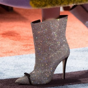 Silver Sparkly Shoes Stiletto Heel Bow Detailed Pointy Toe Ankle Boots