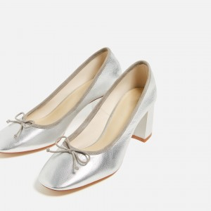 Silver Square Toe Chunky Heel Bow Detailed Basic Pumps