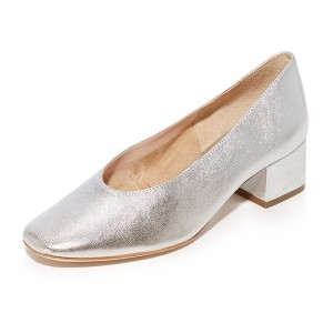 Silver Square Toe Chunky Heels Pumps for Women
