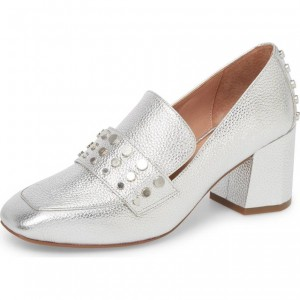 Silver Square Toe Studs Block Heels Loafers for Women