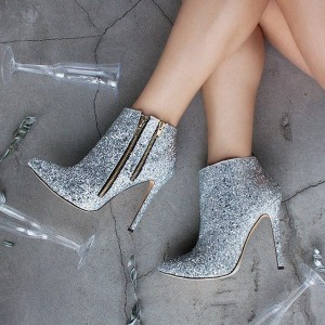 Silver Glitter Boots Pointy Toe Fashion Stiletto Heel Ankle Booties