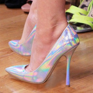 FSJ Pointy Toe Stiletto Heel Holographic Shoes in Silver