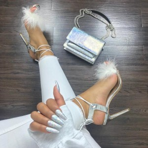 Silver Strappy Fur Stiletto Heels Sandals