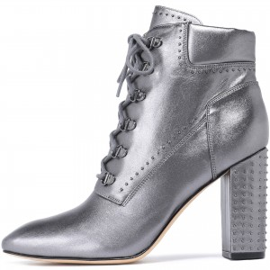 Silver Studs Lace up Boots Square Toe Chunky Heels Ankle Booties