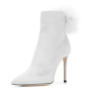 Silver Suede Pom Pom Shoes Stiletto Heel Ankle Boots