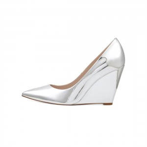 Silver TPU Low Cut Wedge Heels Pointed Toe Pumps