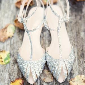 Silver Wedding Flats T Strap Glitter Shoes for Bridesmaid